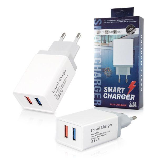 Hišni polnilec 2x USB 2.4A White Bela