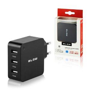 Hišni polnilec BLOW 3x USB 7,2A Black Črna