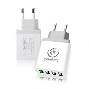 Hišni polnilec Rebeltec QC 3.0 4x USB H400 turbo White Bela